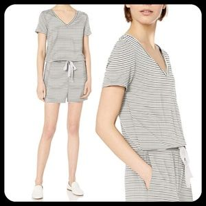 Daily Ritual Terry Striped Short Sleeve Romper